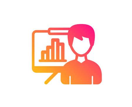 Presentation board icon. Column graph sign. Growth diagram symbol. Classic flat style. Gradient presentation board icon. Vector