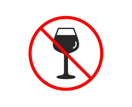 No or Stop. Wine glass icon. Bordeaux glass sign. Prohibited ban stop symbol. No bordeaux glass icon. Vector