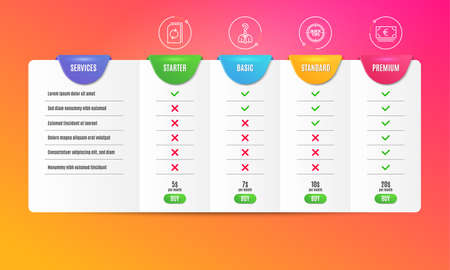 Tips, Hiring employees and Update document icons simple set. Comparison table. Euro currency sign. Quick tricks, Human resources, Refresh file. Eur banking. Business set. Pricing plan. Vector Çizim