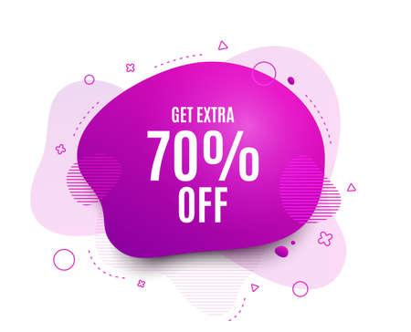 Fluid badge. Get Extra 70% off Sale. Discount offer price sign. Special offer symbol. Save 70 percentages. Abstract shape. Color gradient sale banner. Flyer liquid design. Vector Иллюстрация