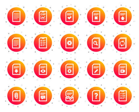 Document Management icons. Set of Report, Checklist and Copy icons. Download file, Remove and Attach clip symbols. Search, Edit management document and Corrupt report file. Checklist copy. Vector