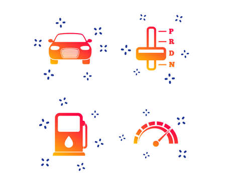 Transport icons. Car tachometer and automatic transmission symbols. Petrol or Gas station sign. Random dynamic shapes. Gradient car icon. Vector