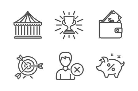 Wallet, Trophy and Carousels icons simple set. Remove account, Target and Loan percent signs. Usd cash, Winner cup. Business set. Line wallet icon. Editable stroke. Vector