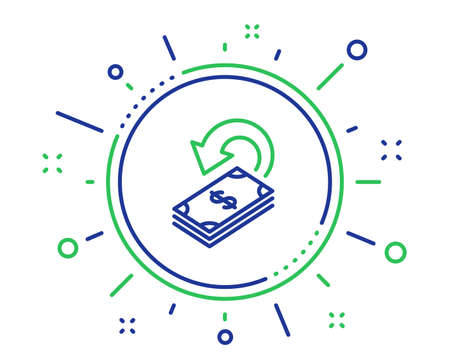 Cashback line icon. Dollar payment sign. Finance symbol. Quality design elements. Technology cashback button. Editable stroke. Vector