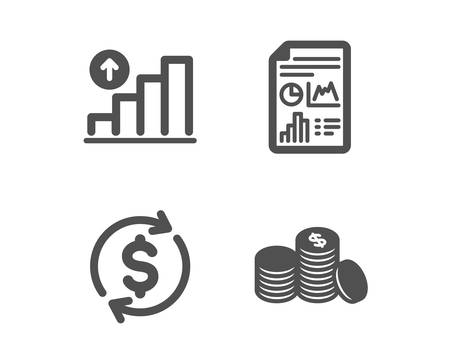 Set of Graph chart, Report document and Usd exchange icons. Banking money sign. Growth report, Growth chart, Currency rate. Cash finance.  Classic design graph chart icon. Flat design. Vector
