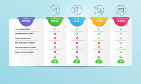 Technical algorithm, Idea and Checklist icons simple set. Comparison table. Payment sign. Project doc, Professional job, Data list. Finance. Education set. Pricing plan. Compare products. Vector Illustration