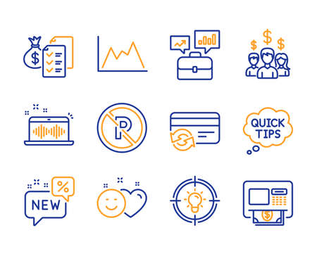 Change card, Accounting wealth and Idea icons simple set. Salary employees, New and Diagram signs. No parking, Music making and Business portfolio symbols. Quick tips, Smile and Atm. Vector