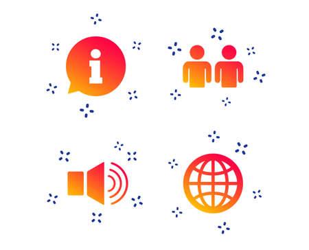 Hinweisschild. Gruppe von Personen und Lautsprecherlautstärkesymbolen. Internet-Globus-Zeichen. Kommunikationssymbole. Zufällige dynamische Formen. Symbol für Farbverlaufsinformationen. Vektor