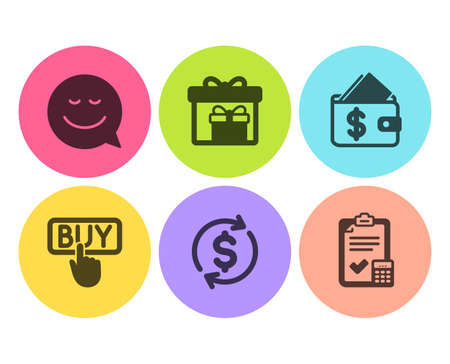 Buying, Smile and Delivery boxes icons simple set. Wallet, Usd exchange and Accounting checklist signs. E-commerce shopping, Chat emotion. Business set. Flat buying icon. Circle button. Vector Ilustração