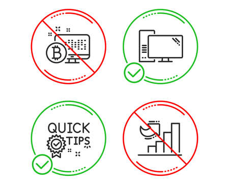 Do or Stop. Quick tips, Computer and Bitcoin system icons simple set. Growth chart sign. Helpful tricks, Pc component, Cryptocurrency monitor. Diagram graph. Science set. Line quick tips do icon Banco de Imagens - 123152039