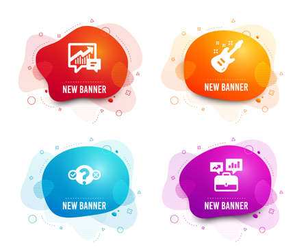 Liquid badges. Set of Quiz test, Accounting and Electric guitar icons. Business portfolio sign. Select answer, Supply and demand, Musical instrument. Job interview.  Gradient quiz test icon. Vector