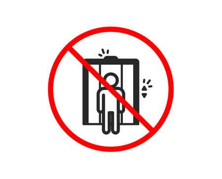 No o fermati. Icona di sollevamento. Segno di ascensore. Simbolo di trasporto tra i piani. Simbolo di divieto di arresto vietato. Nessuna icona dell'ascensore. Vettore Vettoriali