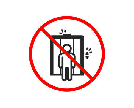 No or Stop. Lift icon. Elevator sign. Transportation between floors symbol. Prohibited ban stop symbol. No elevator icon. Vector