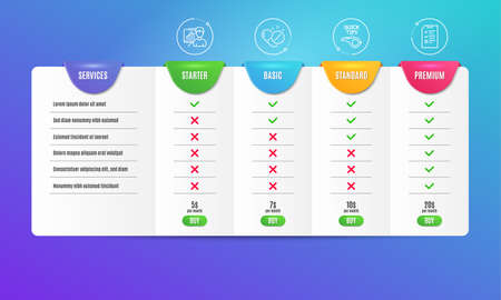 Presentation board, Tutorials and Medical pills icons simple set. Comparison table. Interview sign. Growth chart, Quick tips, Drugs. Checklist file. Science set. Pricing plan. Compare products. Vector Illusztráció