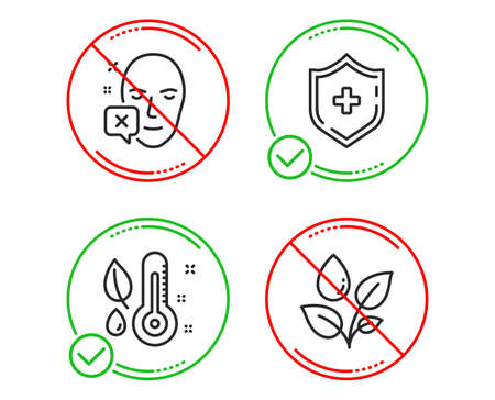 Do or Stop. Face declined, Thermometer and Medical shield icons simple set. Plants watering sign. Identification error, Grow plant, Medicine protection. Water drop. Healthcare set. Vector