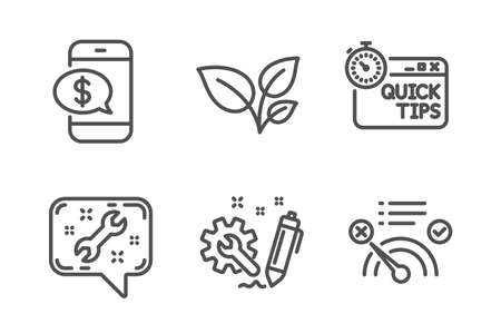 Leaves, Phone payment and Spanner icons simple set. Engineering, Quick tips and No internet signs. Grow plant, Mobile pay. Business set. Line leaves icon. Editable stroke. Vector