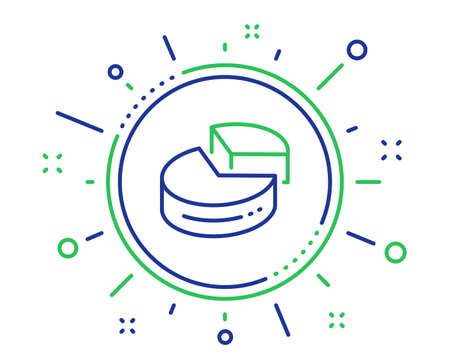 Pie chart line icon. Presentation 3d graph sign. Market analytics symbol. Quality design elements. Technology pie chart button. Editable stroke. Vector Illusztráció
