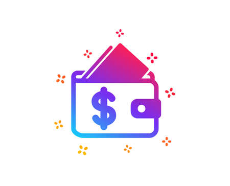 Wallet icon. Affordability sign. Cash savings symbol. Dynamic shapes. Gradient design wallet icon. Classic style. Vector