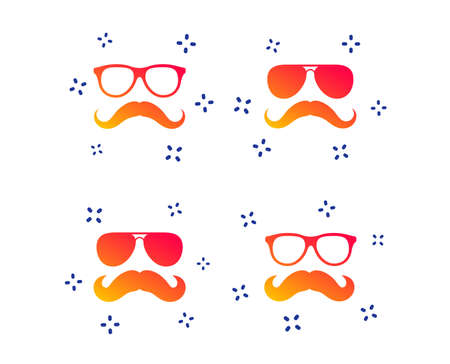Mustache and Glasses icons. Hipster symbols. Facial hair signs. Random dynamic shapes. Gradient hipster icon. Vector Illustration