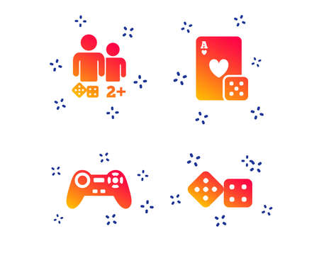 Gamer icons. Board games players signs. Video game joystick symbol. Casino playing card. Random dynamic shapes. Gradient gamer icon. Vector Foto de archivo - 121270171