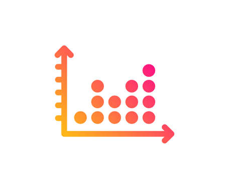 Dot plot graph icon. Presentation chart sign. Market analytics symbol. Classic flat style. Gradient dot plot icon. Vector