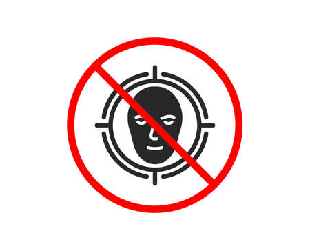 No or Stop. Face detect target icon. Head recognition sign. Identification symbol. Prohibited ban stop symbol. No face detect icon. Vector Illustration