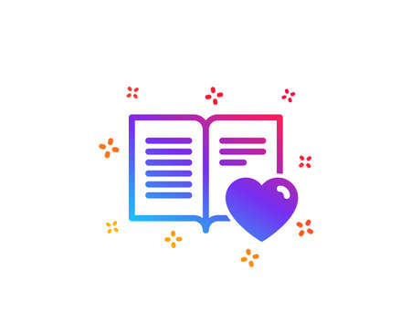 Love book icon. Feedback sign. Customer satisfaction symbol. Dynamic shapes. Gradient design love book icon. Classic style. Vector Illusztráció