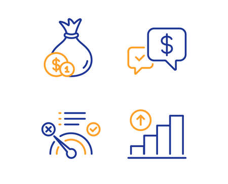 Payment received, Cash and No internet icons simple set. Graph chart sign. Money, Banking currency, Bandwidth meter. Growth report. Business set. Linear payment received icon. Colorful design set