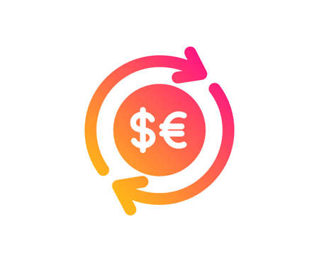 Money exchange icon. Banking currency sign. Euro and Dollar Cash transfer symbol. Classic flat style. Gradient money currency icon. Vector
