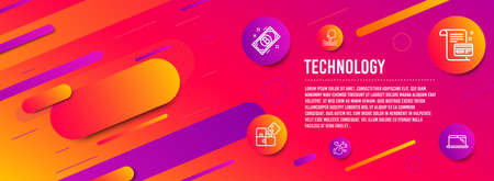 Header banner. Payment card, Elastic and Bitcoin icons simple set. Puzzle, Like and Laptop signs. Agreement conditions, Resilience. Technology set. Line payment card icon. Gradient elements. Vector Illustration