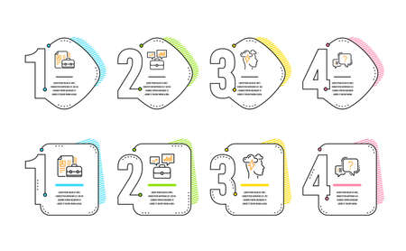Vacancy, Mindfulness stress and Business portfolio icons simple set. Question mark sign. Hiring job, Cloud storm, Job interview. Quiz chat. Science set. Infographic timeline. Line vacancy icon Illustration