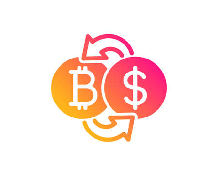 Bitcoin exchange icon. Cryptocurrency coin sign. Dollar money symbol. Classic flat style. Gradient bitcoin exchange icon. Vector