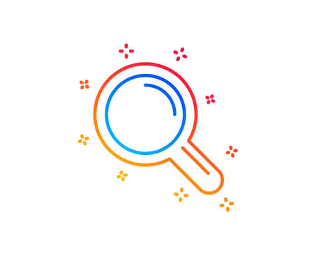 Research line icon. Magnifying glass symbol. Magnifier sign. Gradient design elements. Linear research icon. Random shapes. Vector