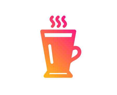 Latte icon. Hot Coffee or Tea sign. Fresh beverage symbol. Classic flat style. Gradient latte icon. Vector 向量圖像