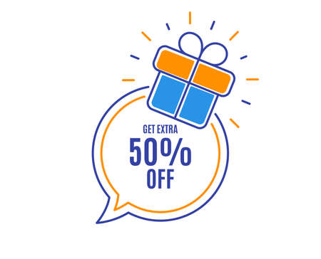 Get Extra 50% off Sale. Discount offer price sign. Special offer symbol. Save 50 percentages. Loyalty sale tag. Speech bubble banner. Gift box badge. Vector