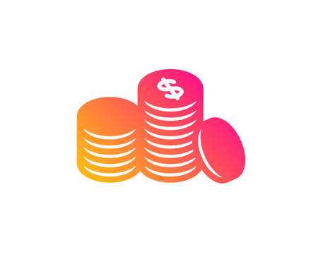 Coins money icon. Banking currency sign. Cash symbol. Classic flat style. Gradient banking money icon. Vector