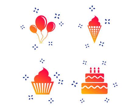 Birthday party icons. Cake with ice cream signs. Air balloons with rope symbol. Random dynamic shapes. Gradient birthday icon. Vector