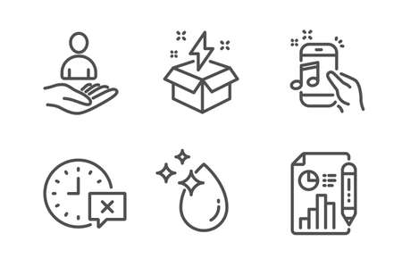 Music phone, Water drop and Recruitment icons simple set. Time, Creative idea and Report document signs. Radio sound, Crystal aqua. Business set. Line music phone icon. Editable stroke. Vector