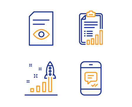 Development plan, Checklist and View document icons simple set. Message sign. Strategy, Graph report, Open file. Phone messenger. Business set. Linear development plan icon. Colorful design set 向量圖像
