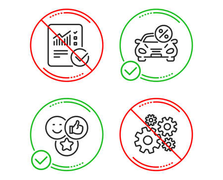Do or Stop. Car leasing, Like and Checked calculation icons simple set. Cogwheel sign. Transport discount, Social media likes, Statistical data. Engineering tool. Technology set. Vector