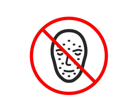 No or Stop. Face biometrics icon. Facial recognition sign. Head scanning symbol. Prohibited ban stop symbol. No face biometrics icon. Vector