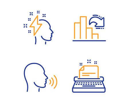 Brainstorming, Decreasing graph and Human sing icons simple set. Typewriter sign. Lightning bolt, Column chart, Talk. Instruction. Education set. Linear brainstorming icon. Colorful design set. Vector