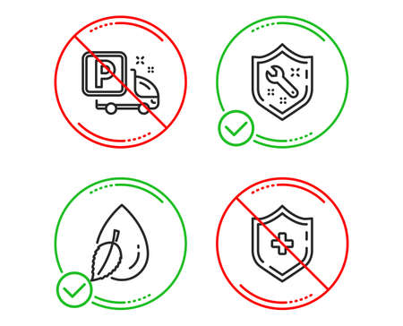 Do or Stop. Spanner, Water drop and Truck parking icons simple set. Medical shield sign. Repair service, Mint leaf, Free park. Medicine protection. Business set. Line spanner do icon. Vector Foto de archivo - 123159395