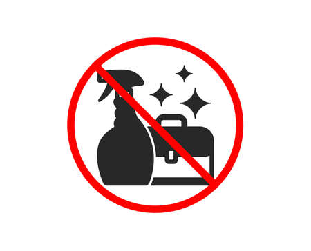 No or Stop. Cleaning spray icon. Washing liquid or Cleanser symbol. Housekeeping service sign. Prohibited ban stop symbol. No cleanser spray icon. Vector 向量圖像