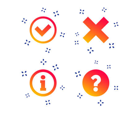 Information icons. Delete and question FAQ mark signs. Approved check mark symbol. Random dynamic shapes. Gradient info icon. Vector