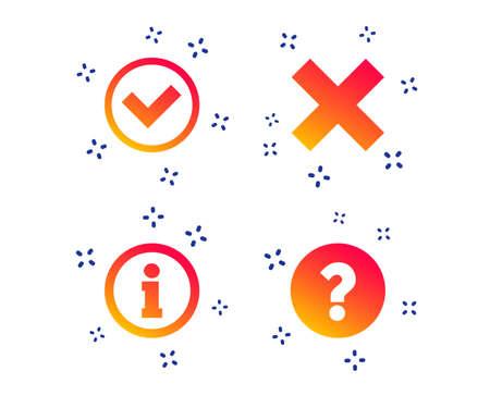 Informationssymbole. Löschen und hinterfragen Sie FAQ-Zeichen. Genehmigtes Häkchensymbol. Zufällige dynamische Formen. Symbol für Verlaufsinformationen. Vektor