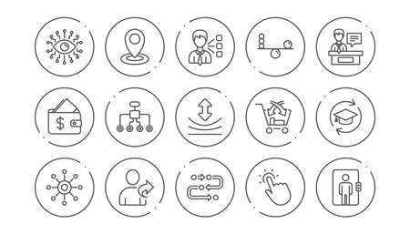 Artificial intelligence, Balance and Refer friend line icons. Timeline, Multichannel. Linear icon set. Line buttons with icon. Editable stroke. Vector Stock Vector - 121270316