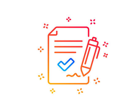 Approved agreement line icon. Sign document. Accepted or confirmed symbol. Gradient design elements. Linear approved agreement icon. Random shapes. Vector
