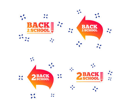 Back to school icons. Studies after the holidays signs. Pencil symbol. Random dynamic shapes. Gradient school icon. Vector Vettoriali