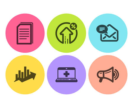 Copy files, Medical help and Loan percent icons simple set. Growth chart, New mail and Megaphone signs. Copying documents, Medicine laptop. Technology set. Flat copy files icon. Circle button. Vector